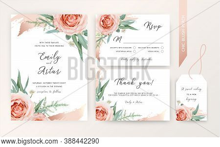 Wedding Invite, Rsvp, Thank You Card Floral Design. Blush Peach Roses, White Astrania Flowers, Green