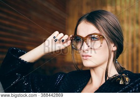 Fashion Hipster Portrait Of Young Beautiful Woman Posing Outdoor In Summer