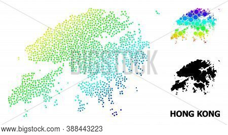 Pixel Spectrum, And Solid Map Of Hong Kong, And Black Text. Vector Structure Is Created From Map Of