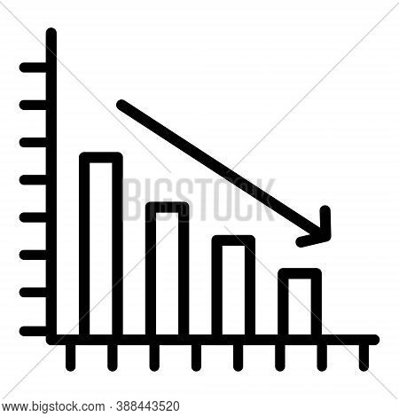 Declining Graph Icon. Down Trend Symbol. Decreasing Chart Sign. Economic Recession, Stock Market Cra