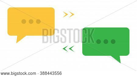 Conversation Bubble. Chat Dialog In Yellow And Green. Text Message Icon In Flat On White Background.
