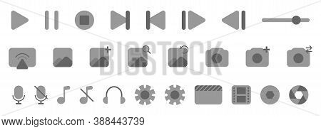 Media Player Icons. Multimedia Control Set. Video And Audio Toolbar Interface. Media Pack Collection