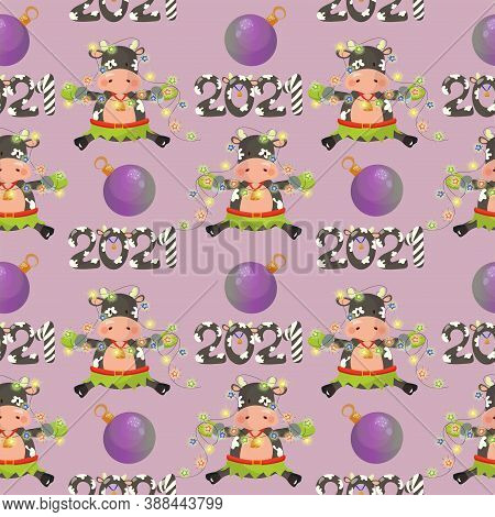2021 New Year Seamless Pattern With A Bull Girl Holding Christmas Lights, Baubles And 2021 Lettering