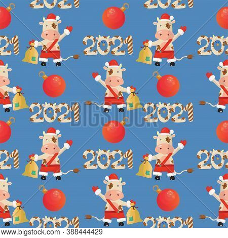 2021 New Year Seamless Pattern With A Bull Wearing Santa Costume, Baubles And 2021 Lettering. Vector