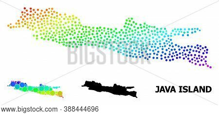 Dotted Bright Spectral, And Solid Map Of Java Island, And Black Tag. Vector Structure Is Created Fro