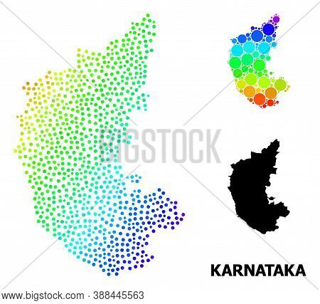 Dotted Rainbow Gradient, And Monochrome Map Of Karnataka State, And Black Title. Vector Structure Is