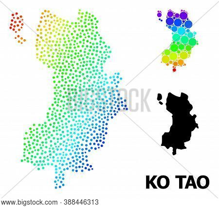 Dotted Rainbow Gradient, And Monochrome Map Of Ko Tao, And Black Name. Vector Structure Is Created F