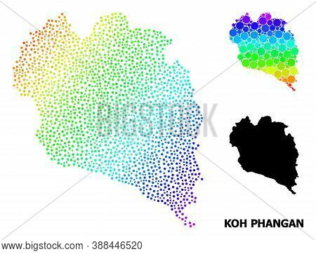 Dotted Bright Spectral, And Solid Map Of Koh Phangan, And Black Caption. Vector Model Is Created Fro
