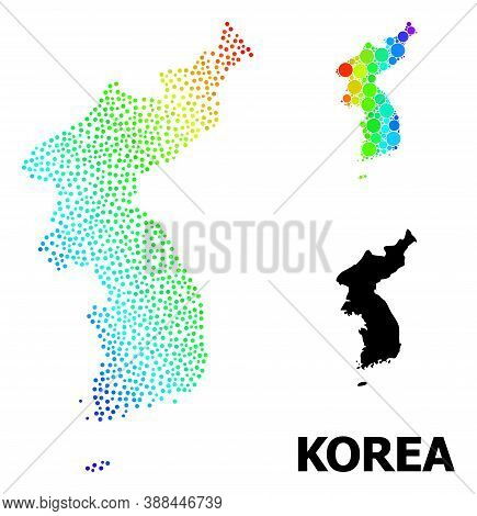 Dot Spectral, And Monochrome Map Of Korea, And Black Tag. Vector Model Is Created From Map Of Korea