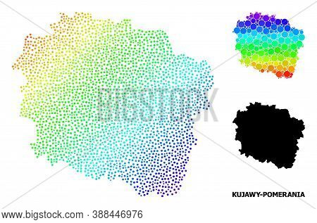 Pixelated Spectral, And Monochrome Map Of Kujawy-pomerania Province, And Black Caption. Vector Struc