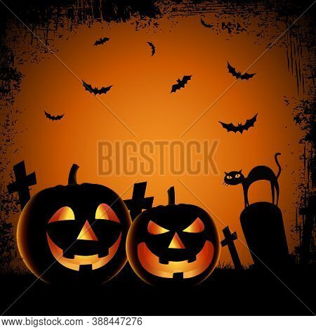 Halloween Ghostly Poster With Pumpkins In Cemetery Template Vector Eps 10