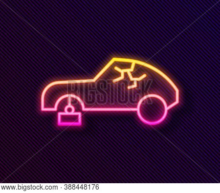 Glowing Neon Line Broken Car Icon Isolated On Black Background. Car Crush. Vector Illustration