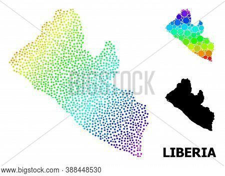 Pixelated Rainbow Gradient, And Monochrome Map Of Liberia, And Black Name. Vector Model Is Created F