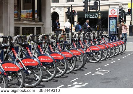 London, Uk - July 7, 2016: Santander Cycles Bicycle Hire Station In West End, London, Uk. The Public