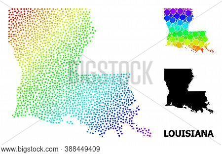 Dot Rainbow Gradient, And Monochrome Map Of Louisiana State, And Black Name. Vector Model Is Created