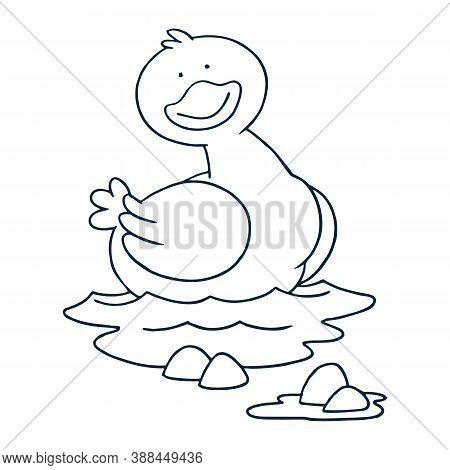 Little Ducks Swim In The Pond Beside The Lotus Flower. Little Yellow Duck Icon. Cartoon Of Little Ye