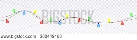 Christmas Lights Isolated Realistic Design Elements. Glowing Lights For Xmas Holiday Cards, Banners,