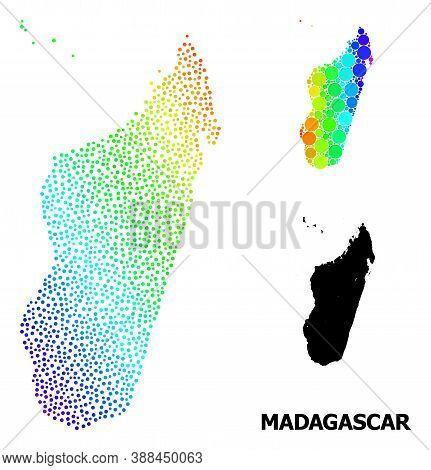 Pixelated Bright Spectral, And Monochrome Map Of Madagascar Island, And Black Name. Vector Structure