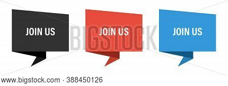 Join Us Vector Label Banner Set. Ribbon Tags Template With Join Us.