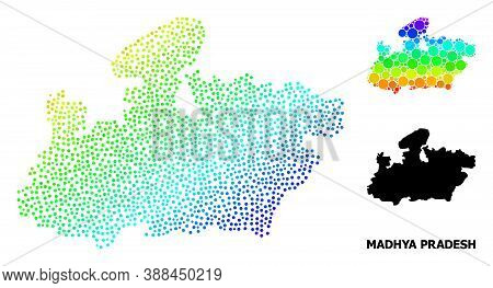 Dotted Rainbow Gradient, And Solid Map Of Madhya Pradesh State, And Black Name. Vector Structure Is