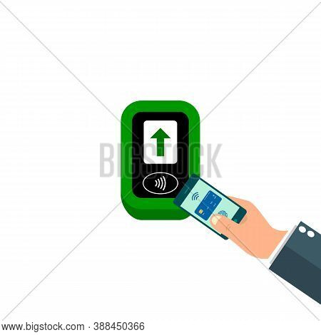 Wireless, Contactless Or Cashless Payments, Rfid Nfc. Pay Pass. Terminal Icon. Digital Wallet, Mobil
