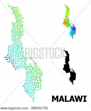 Pixelated Spectrum, And Solid Map Of Malawi, And Black Caption. Vector Model Is Created From Map Of