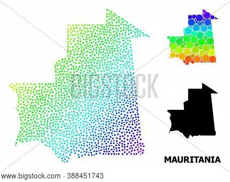 Dotted Spectral, And Monochrome Map Of Mauritania, And Black Caption. Vector Structure Is Created Fr