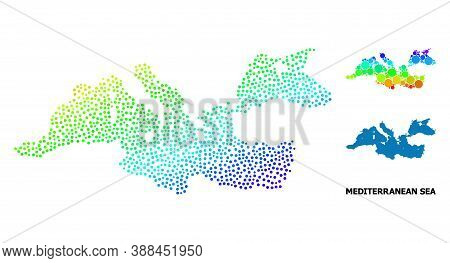 Dot Spectral, And Monochrome Map Of Mediterranean Sea, And Black Title. Vector Model Is Created From