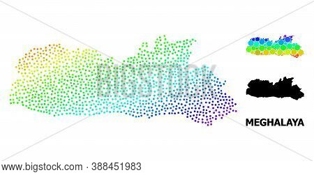 Dot Bright Spectral, And Monochrome Map Of Meghalaya State, And Black Text. Vector Structure Is Crea