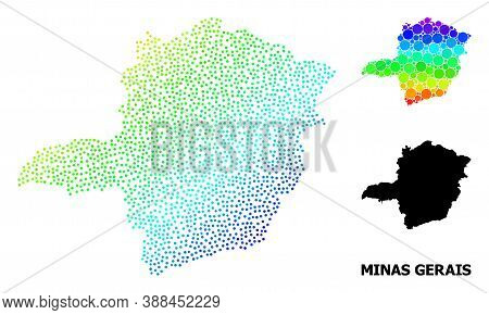 Pixel Spectrum, And Solid Map Of Minas Gerais State, And Black Name. Vector Model Is Created From Ma