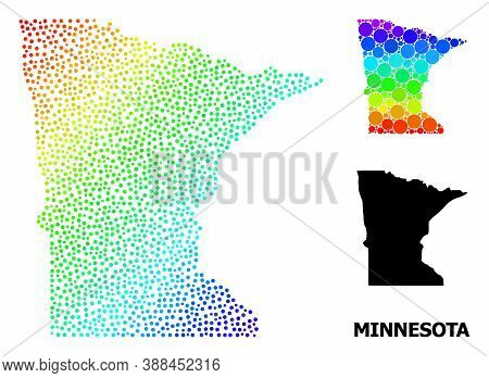 Dotted Spectral, And Monochrome Map Of Minnesota State, And Black Caption. Vector Model Is Created F