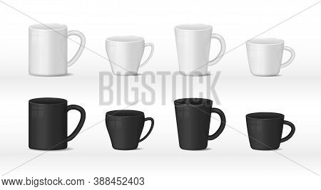 Realistic Blank White And Black Coffee Mug Cups On White Background. Hot Drink Container Cup Collect