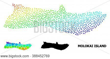 Pixelated Rainbow Gradient, And Solid Map Of Molokai Island, And Black Caption. Vector Structure Is
