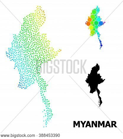 Dot Spectrum, And Monochrome Map Of Myanmar, And Black Caption. Vector Model Is Created From Map Of