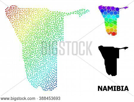 Pixelated Spectral, And Monochrome Map Of Namibia, And Black Text. Vector Structure Is Created From