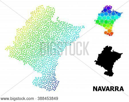 Dot Bright Spectral, And Monochrome Map Of Navarra Province, And Black Text. Vector Structure Is Cre