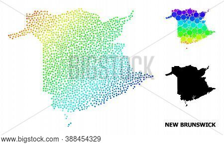 Dot Spectrum, And Monochrome Map Of New Brunswick Province, And Black Title. Vector Model Is Created