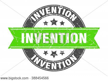 Invention Round Stamp With Ribbon. Label Sign