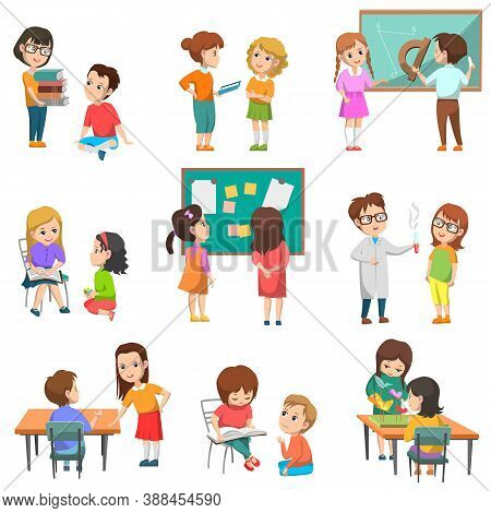 Education Vector, Isolated Set Of Schoolchildren With Teachers. Chemistry And Geometry Lessons, Proj