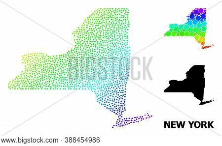 Pixel Rainbow Gradient, And Solid Map Of New York State, And Black Caption. Vector Structure Is Crea