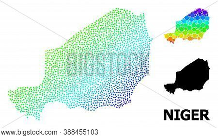 Dotted Rainbow Gradient, And Solid Map Of Niger, And Black Title. Vector Model Is Created From Map O