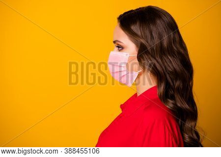 Closeup Profile Photo Of Pretty Stunning Curly Business Lady Bserious Bossy Person Look Empty Space