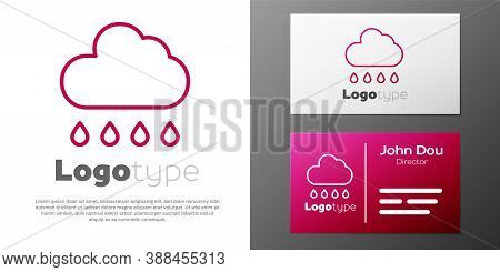 Logotype Line Cloud With Rain Icon Isolated On White Background. Rain Cloud Precipitation With Rain