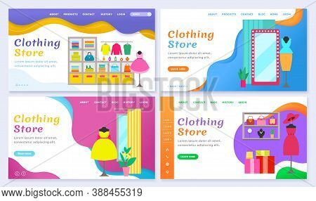 Set Of Clothing Stores And Shops Website Or Webpage. Landing Page With Products Representation. Chan