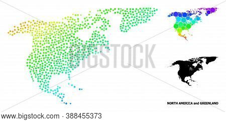 Pixelated Rainbow Gradient, And Solid Map Of North America And Greenland, And Black Title. Vector Mo