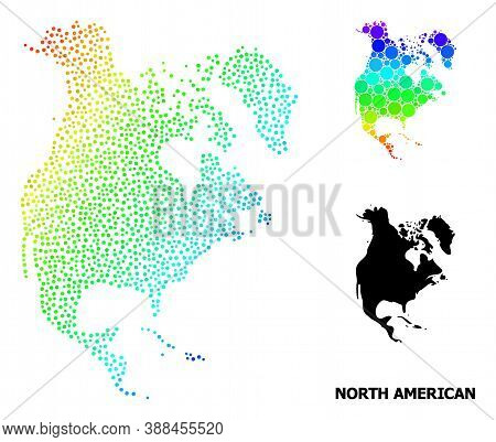 Dotted Spectrum, And Solid Map Of North America, And Black Caption. Vector Structure Is Created From