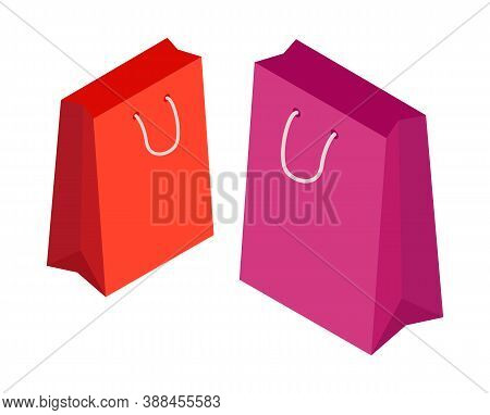 Shopping Pink And Red Paper Bag Isolated On White Background For Advertising And Branding. Paper Pac