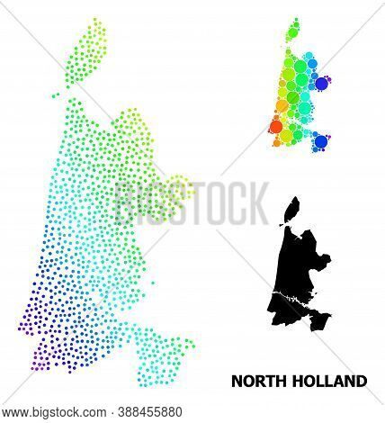 Pixelated Bright Spectral, And Solid Map Of North Holland, And Black Text. Vector Model Is Created F