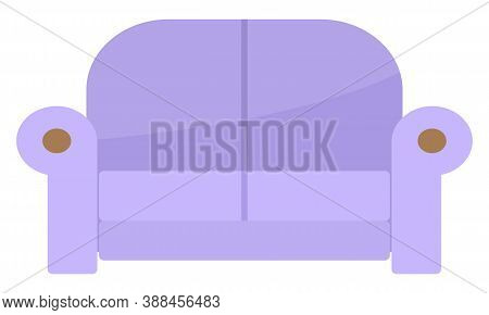 Comfortable Sofa On White Background. Isolated Lilac Couch Lounge In Interior, Furniture Item. Moder