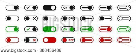 Toggle Switch Icon Set. Vector On Off Slider Toggle Symbol Collection.